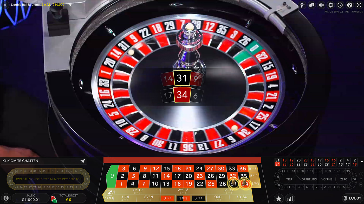 Live dealer Double ball roulette van Evolution Gaming