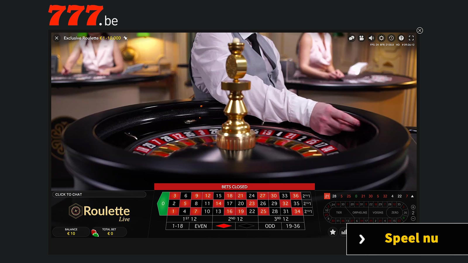 High limit roulette speeltafel