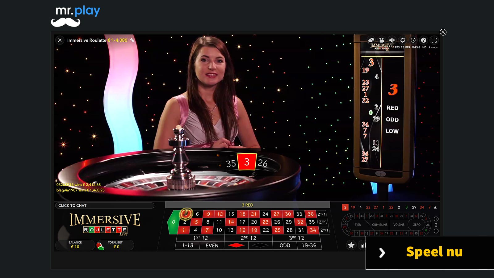 Evolution Gaming live roulette